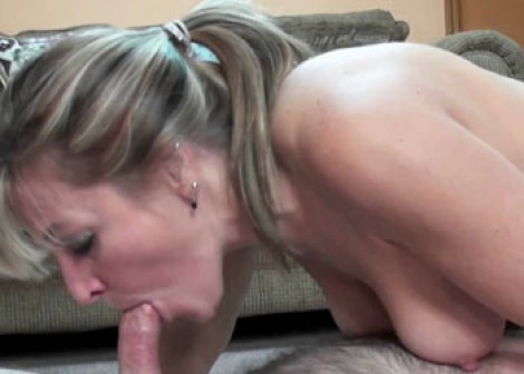 Mature blonde Liisa swallows a cock